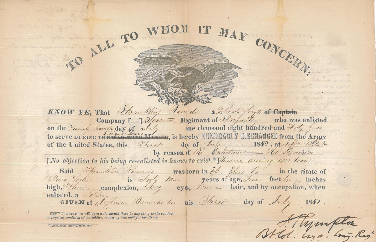 Us army honorable discharge certificate company chart template personal time line for lyman franklin rounds certificate honorabledischarge 1850 timeline rounds lymanhtml us army honorable discharge certificate xflitez Choice Image