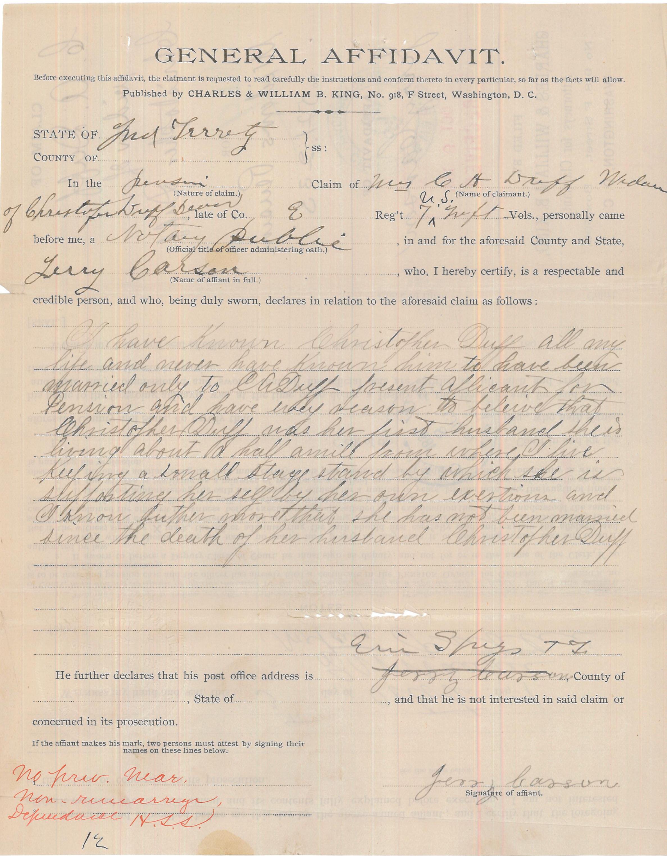 General Affidavit of Jerry Carson