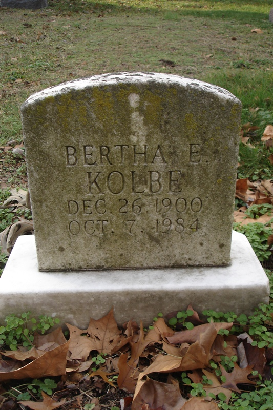 Bertha Kolbe headstone
