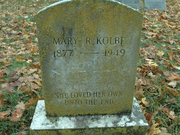 Mary R. Kolbe headstone