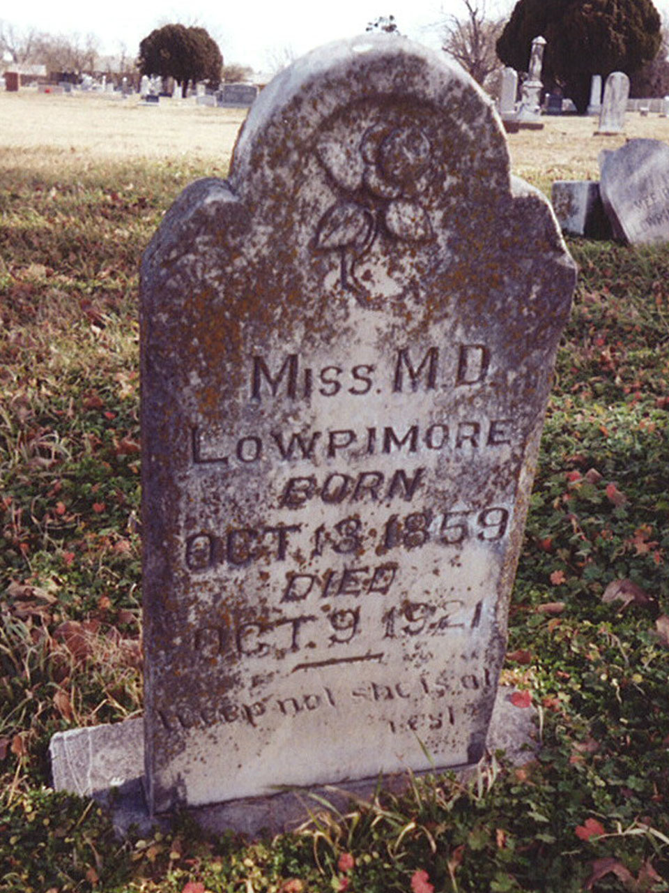 Miss M.D. Lowrimore headstone